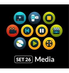 Flat icons set 26 - media collection vector