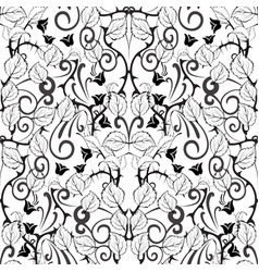 floral black and white seamless pattern white vector image