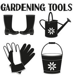garden watering 4 elements silhouette set vector image