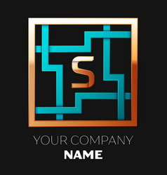 golden letter s logo symbol in the square maze vector image
