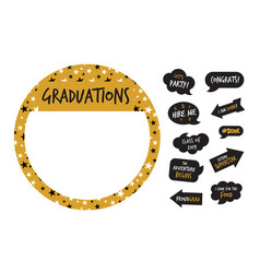 Golden party photo booth and graduation elements vector