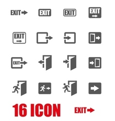 Grey exit icon set vector