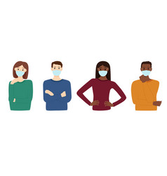 group multiracial people in medical masks vector image