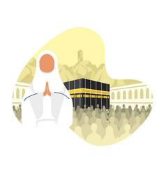 Hajj pilgrimage with woman in kaaba scene vector