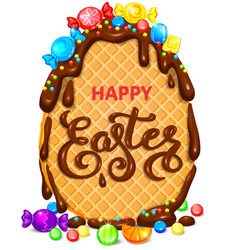 Happy easter waffle egg in chocolate with lot vector