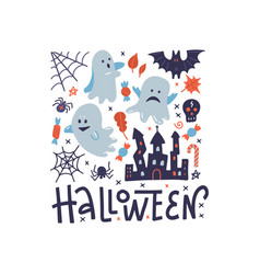 happy halloween square pattern greeting card vector image