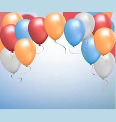 Helium balloon shine colored set flying realistic vector