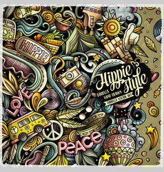 Hippie hand drawn doodles vector