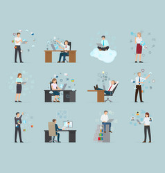 internet business set of male and female workers vector image