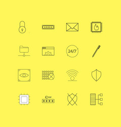 internet technologies linear icon set simple vector image