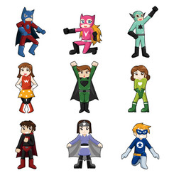 Kids wearing superheroes costume vector