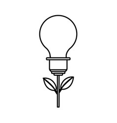 Line bulb plant with leaves to save environment vector