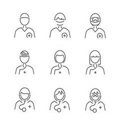 Line Style Medical Surgeon Avatar icon set vector