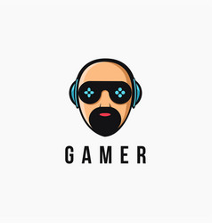 mascot man gamer logo with joystick glass eye vector image