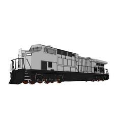 Modern diesel railway locomotive with great power vector
