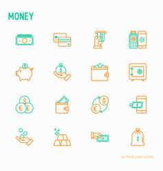 money thin line icons set vector image