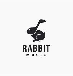 Musical note head rabbit logo icon template vector