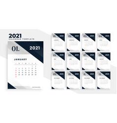 New year 2021 stylish calendar template design vector