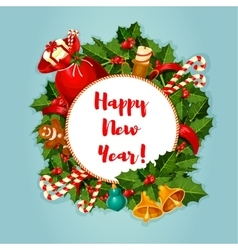 New Year round poster with decorations vector