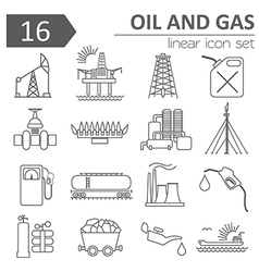 Oil and gas industry icon set Thin line icon vector
