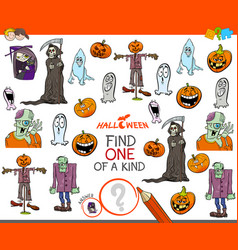 one of a kind task with halloween characters vector image