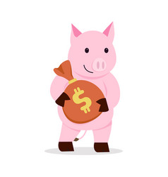 pig holding money bag cartoon vector image