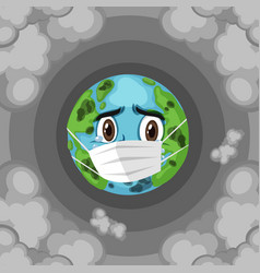 Pollution on earth with sad earth wearing mask vector