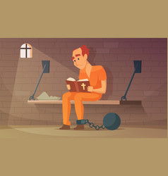 prisoner sitting in cell and reading bible vector image