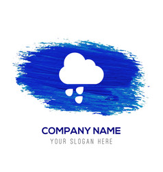 rain cloud icon - blue watercolor background vector image
