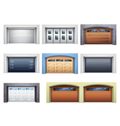 Realistic garage doors set vector
