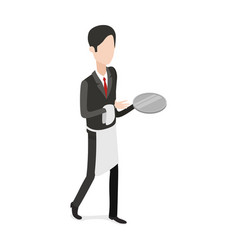 restaurant waiter walking with an empty tray vector image