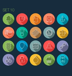 Round Thin Icon with Shadow Set 10 vector