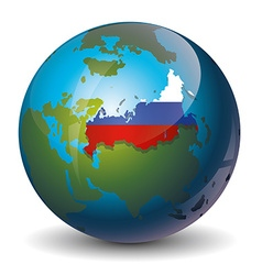 Russia on globe vector image