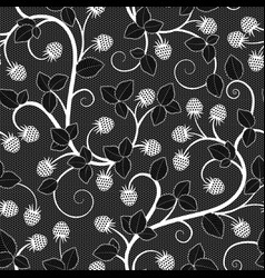 Seamless lace pattern with raspberry on black vector