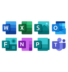 Set microsoft office products vector