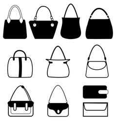 Set of flat woman bags isolated on white vector image
