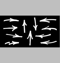 set of graffiti arrows drawn by a white marker on vector image