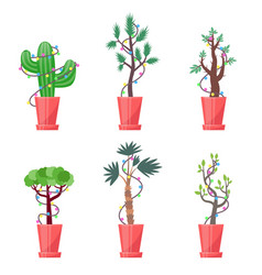 Set of new year plants vector