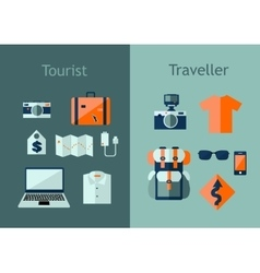Set of travel icons in flat style Travel plan vector