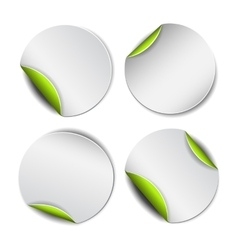 Set of white round stickers with green backside vector image