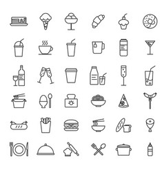 set simple food icon in trendy line style vector image