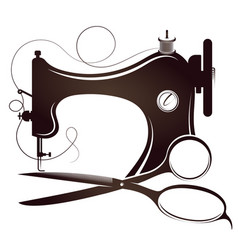 Sewing machine and scissors silhouette vector