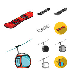 ski resort and equipment cartoonblackflat vector image