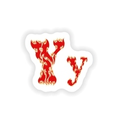 Sticker fiery font red letter Y on white vector