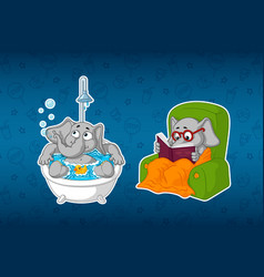 Stickers elephants in the bathroom in the shower vector