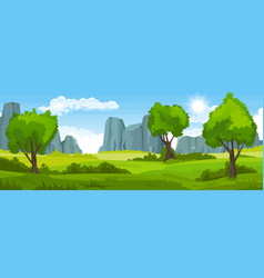 summer landscape with fields and trees and vector image