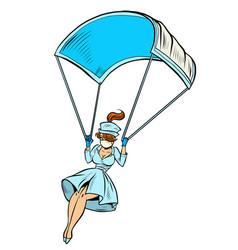 super hero nurse goes down on a parachute like a vector image