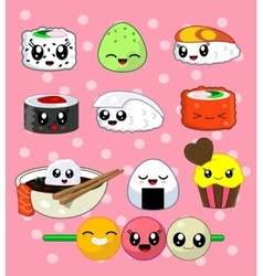 Sushi roll set Happy sushi characters vector image