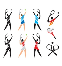 Tennis icons symbols vector image