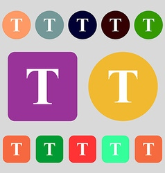 Text edit icon sign 12 colored buttons Flat design vector image